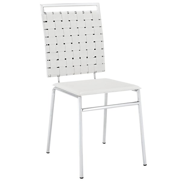 Fuse Modern White PVC Wood Metal Dining Side Chair EEI-1106-WHI