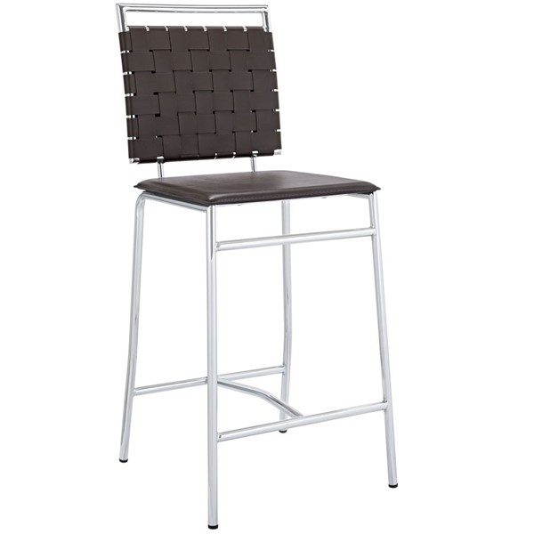 Fuse Modern Brown PVC Wood Metal Counter Stool EEI-1108-BRN