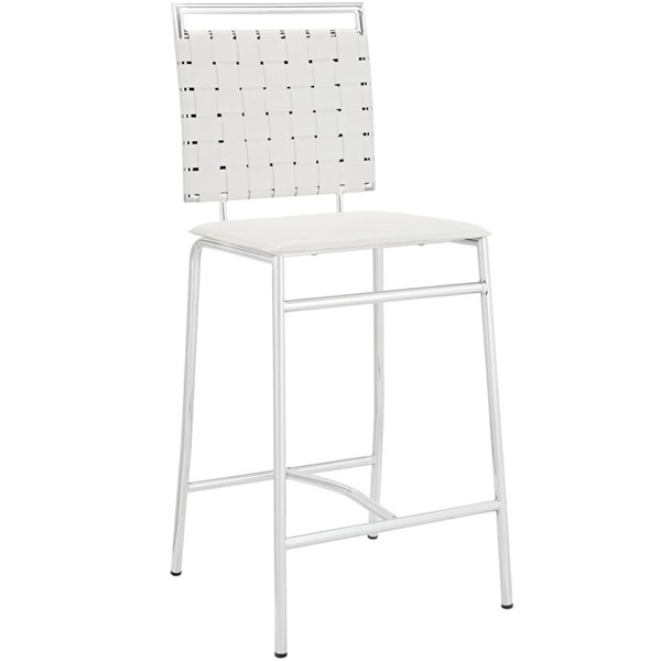 Fuse Modern White PVC Wood Metal Counter Stool EEI-1108-WHI