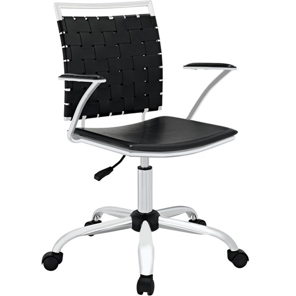 Fuse Modern Black PVC Metal Adjustable Height Office Chair EEI-1109-BLK