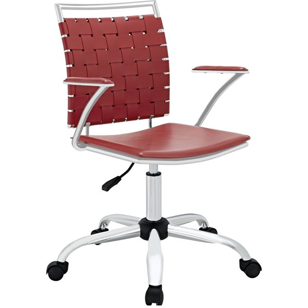 Fuse Modern Red PVC Metal Adjustable Height Office Chair EEI-1109-RED