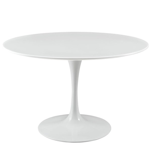 Lippa Traditional White Wood Metal 47 Inch Top Dining Table EEI-1118-WHI