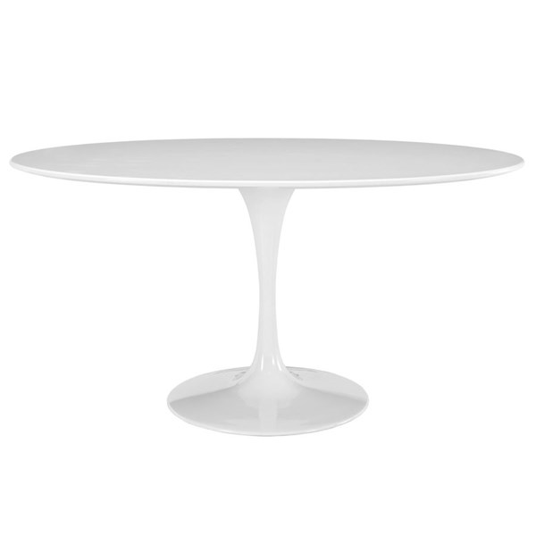 Lippa White Wood Metal 60 Inch Oval Dining Table EEI-1121-WHI