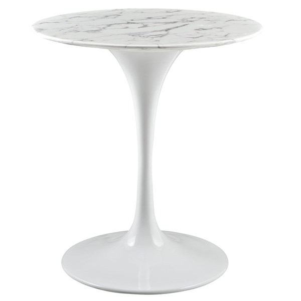 Modway Furniture Lippa White 28 Inch Artificial Marble Dining Table EEI-1128-WHI