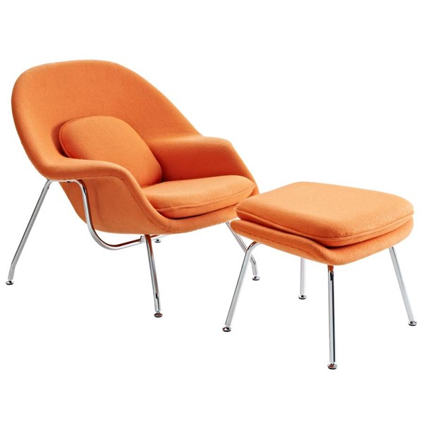 Orange Fabric Metal Lounge Chair w/ Ottoman EEI-113-ORA