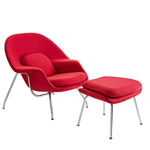 Classic Red Fabric Wool Steel Lounge Chair W/Ottoman EEI-113-RED