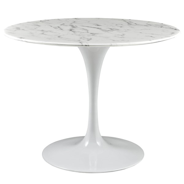 Lippa Traditional White Marble Metal 40 Inch Dining Table EEI-1130-WHI