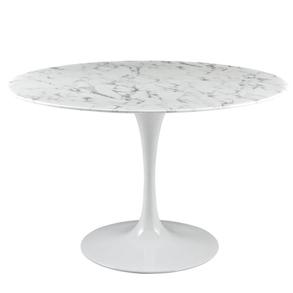 Lippa Traditional White Marble Metal 47 Inch Dining Table EEI-1131-WHI