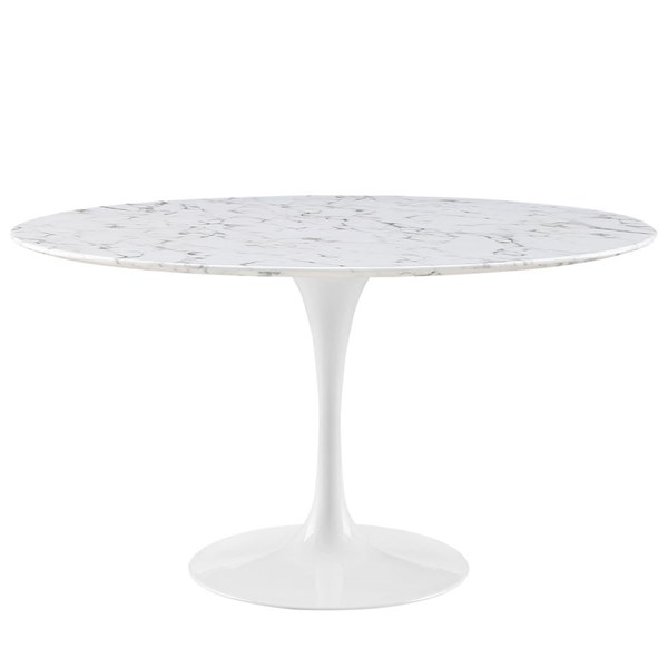 Lippa Traditional White Marble Metal 54 Inch Dining Table EEI-1132-WHI