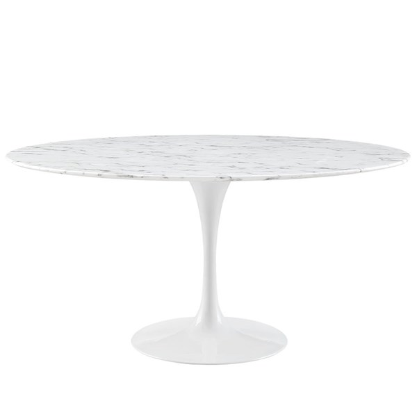 Lippa Traditional White Marble Metal 60 Inch Dining Table EEI-1133-WHI
