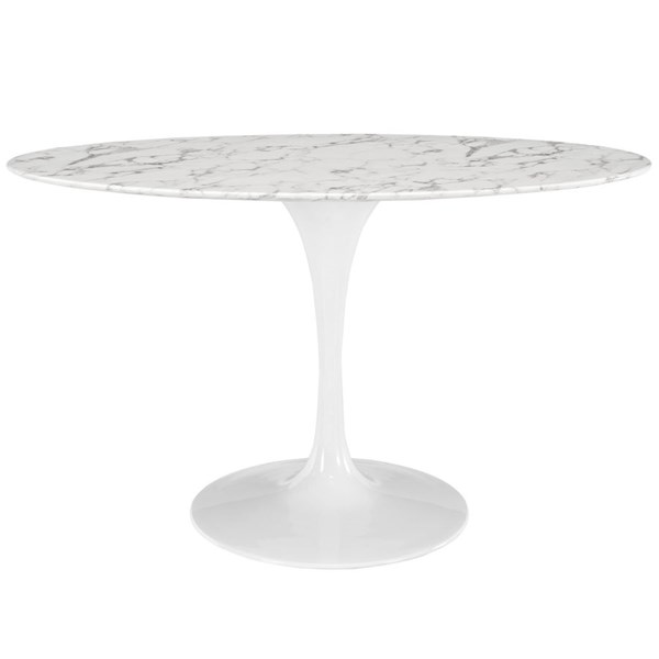 Lippa White Marble Metal Oval Dining Tables EEI-1134-DT-VAR