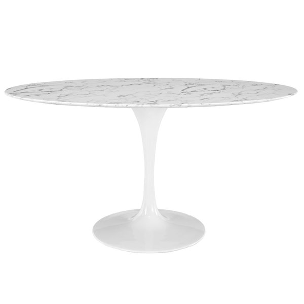 Lippa White Marble Metal 60 Inch Oval Dining Table EEI-1135-WHI