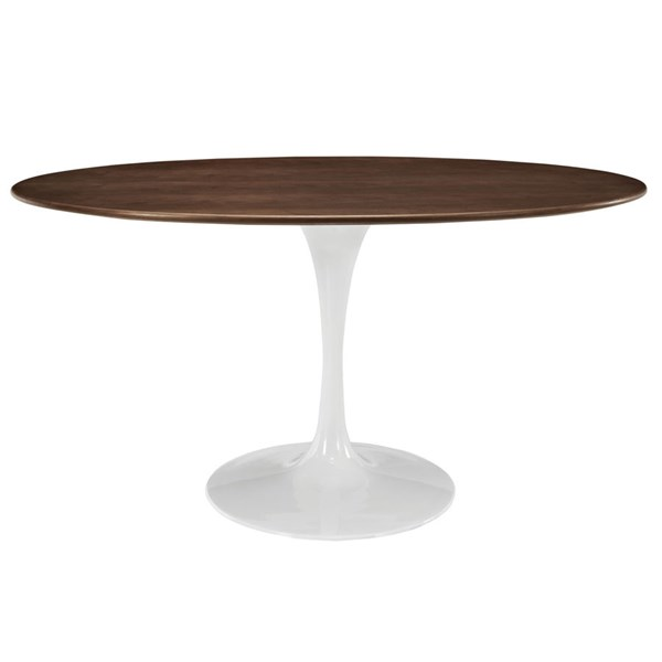 Lippa Traditional Walnut Wood Metal 60 Inch Oval Dining Table EEI-1138-WAL