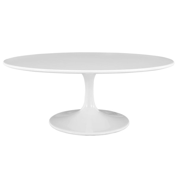 Lippa Traditional White Wood Metal 42 Inch Oval Coffee Table EEI-1139-WHI