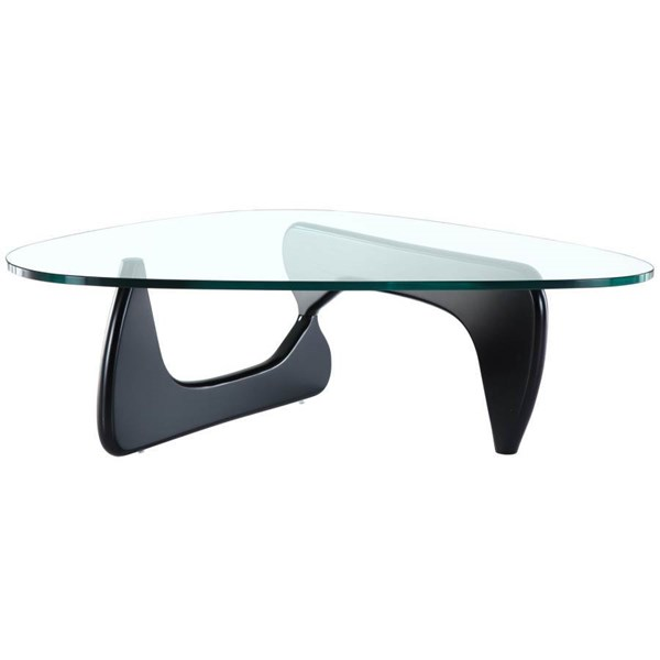 Triangle Elegant Black Glass Wood Coffee Table EEI-114-BLK