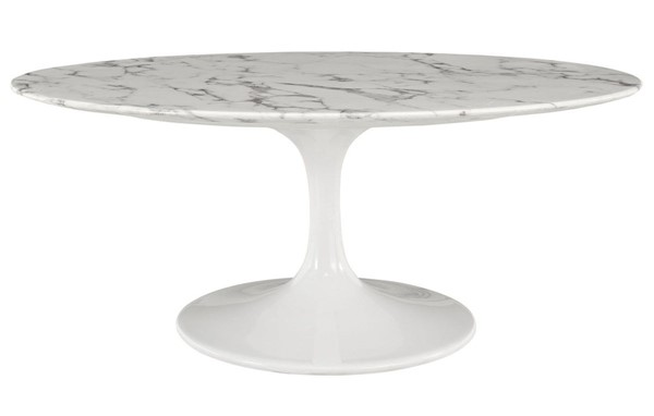 Modway Furniture Lippa 42 Inch Oval Artificial Marble Coffee Table EEI-1140-WHI