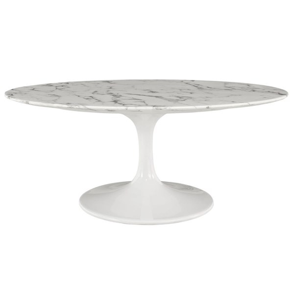 Lippa Traditional White Marble Metal 42 Inch Oval Coffee Table EEI-1140-WHI