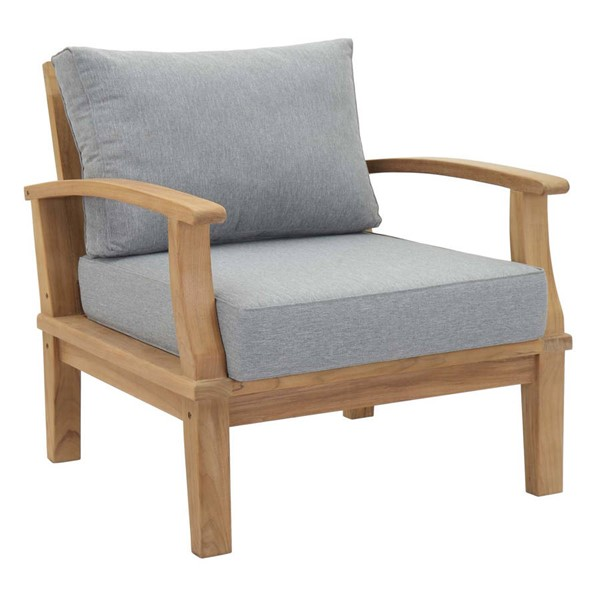 Modway Furniture Marina Gray Outdoor Teak Armchairs EEI-1143-NAT-OCH-VAR
