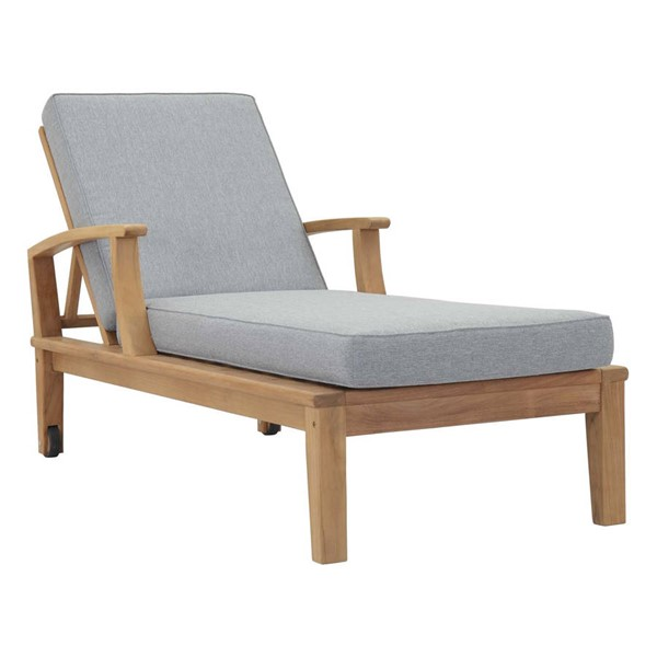 Modway Furniture Marina Gray Outdoor Teak Single Chaises EEI-1151-NAT-OCHIS-VAR