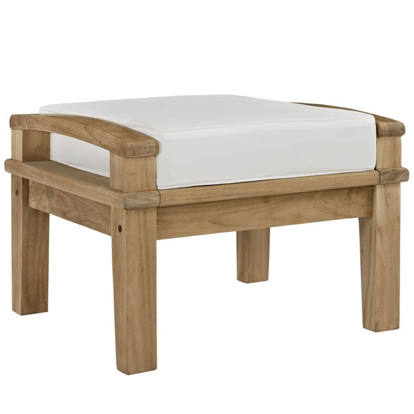 Modway Furniture Marina White Outdoor Teak Ottoman EEI-1152-NAT-WHI-SET
