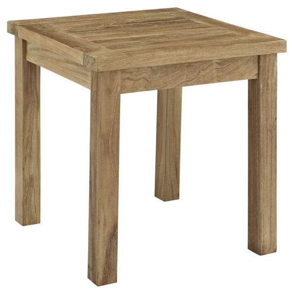 Marina Modern Natural Wood Outdoor Patio Side Table EEI-1155-NAT