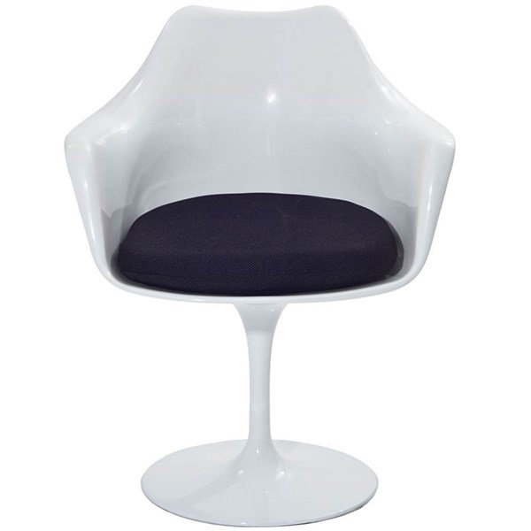 Lippa Modern Black ABS Plastic Cushion Dinette Chair EEI-116-BLK