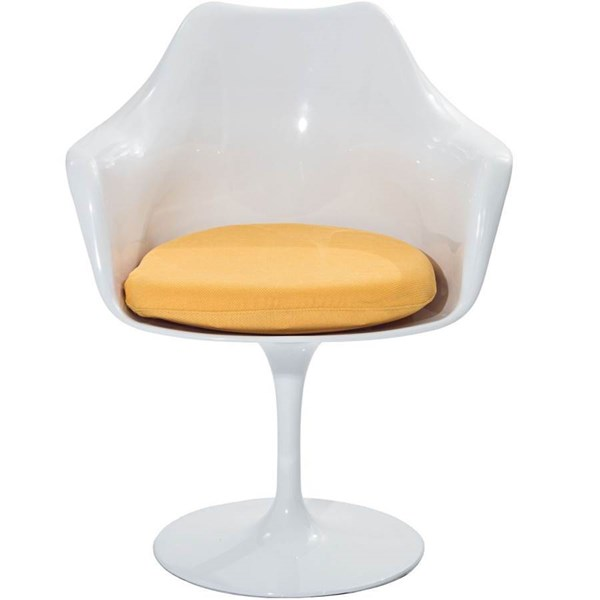 Lippa Modern Yellow ABS Plastic Cushion Dinette Chair EEI-116-YLW