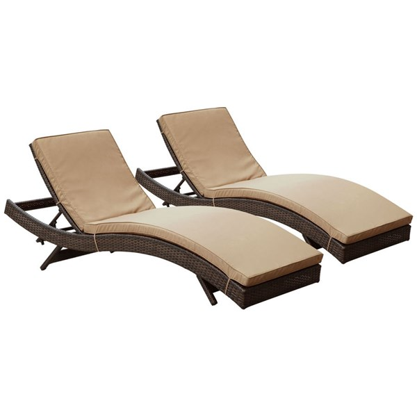 2 Peer Modern Brown Mocha Synthetic Rattan Outdoor Patio Chaise EEI-1172-BRN-MOC