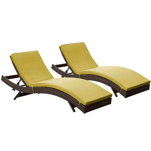 2 Peer Modern Brown Peridot Synthetic Rattan Outdoor Patio Chaise EEI-1172-BRN-PER