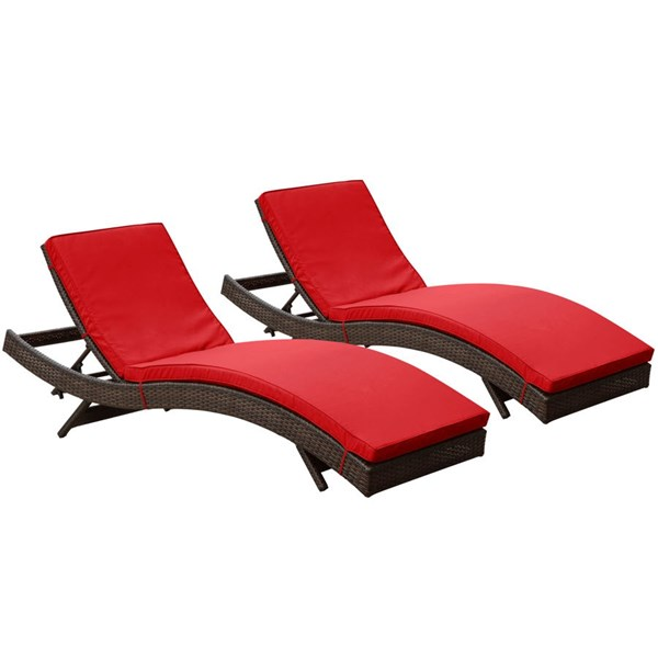 2 Peer Modern Brown Red Synthetic Rattan Outdoor Patio Chaise EEI-1172-BRN-RED