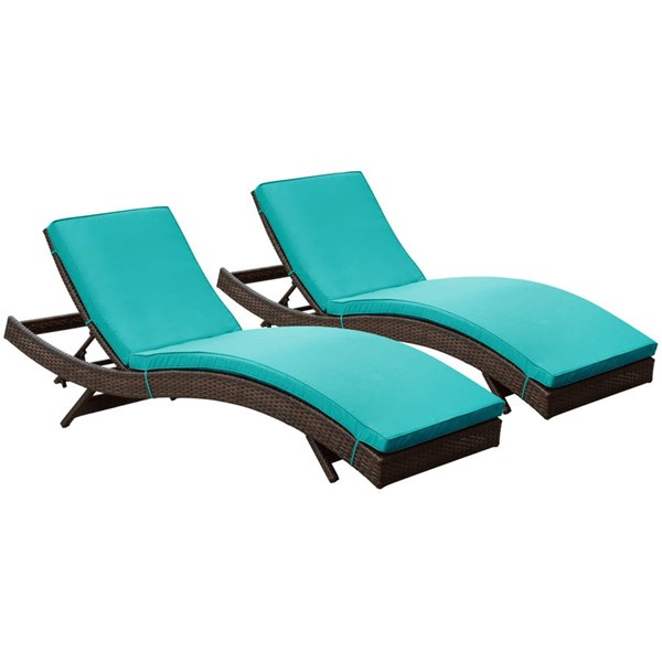 2 Peer Modern Brown Turquoise Synthetic Rattan Outdoor Patio Chaise EEI-1172-BRN-TRQ