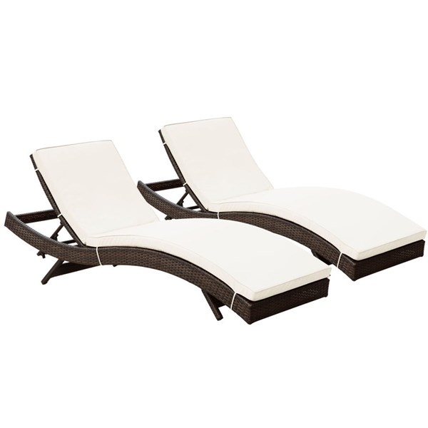 2 Peer Modern Brown White Synthetic Rattan Outdoor Patio Chaise EEI-1172-BRN-WHI