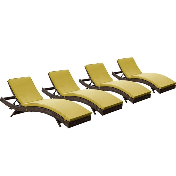 4 Peer Modern Brown Peridot Synthetic Rattan Outdoor Patio Chaise EEI-1176-BRN-PER