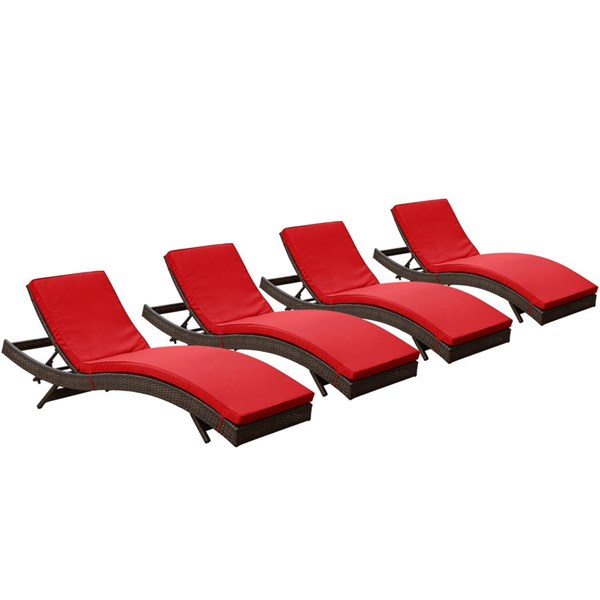 4 Peer Modern Brown Red Synthetic Rattan Outdoor Patio Chaise EEI-1176-BRN-RED