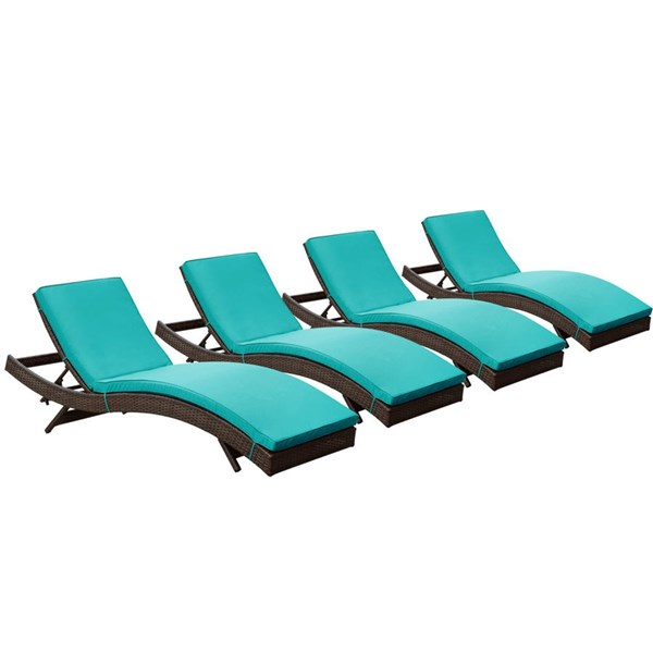 4 Peer Modern Brown Turquoise Synthetic Rattan Outdoor Patio Chaise EEI-1176-BRN-TRQ
