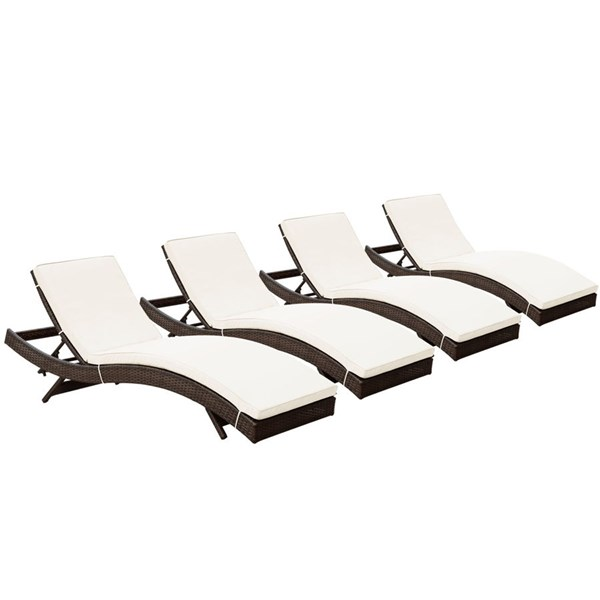 4 Peer Modern Brown White Synthetic Rattan Outdoor Patio Chaise EEI-1176-BRN-WHI