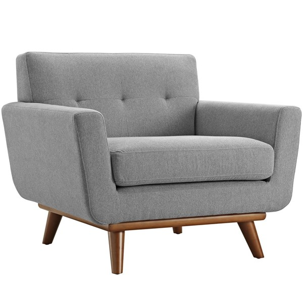 Engage Expectation Gray Fabric Wood Upholstered Armchair EEI-1178-GRY