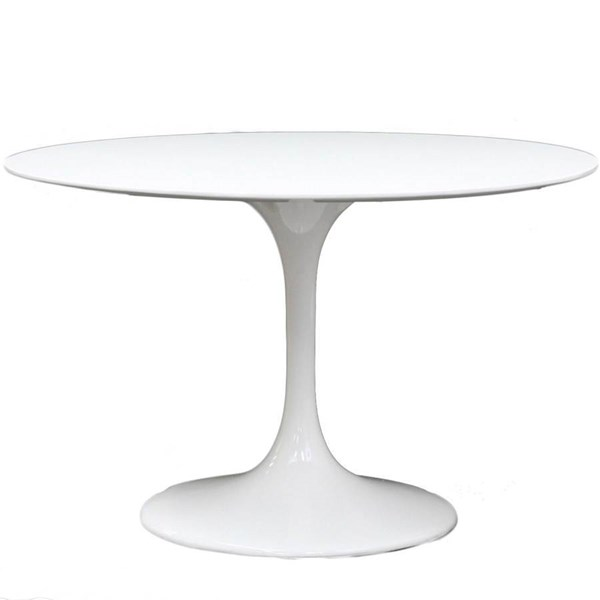 Lippa Traditional White Fiberglass Round Dining Table EEI-118-WHI