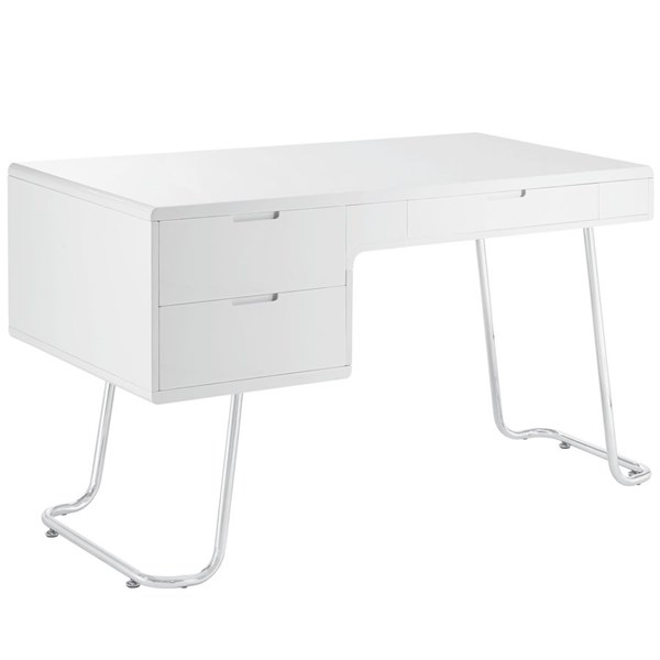 Swag Modern White MDF Melamine Metal Office Desk EEI-1185-WHI