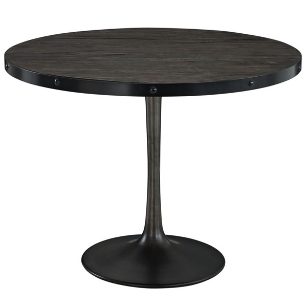 Drive Modern Black Metal Wood Top Dining Table EEI-1197-BLK-SET