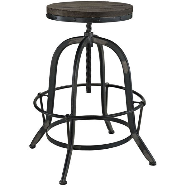 Collect Modern Black Wood Metal Top Bar Stools EEI-1208-DR-CH-VAR