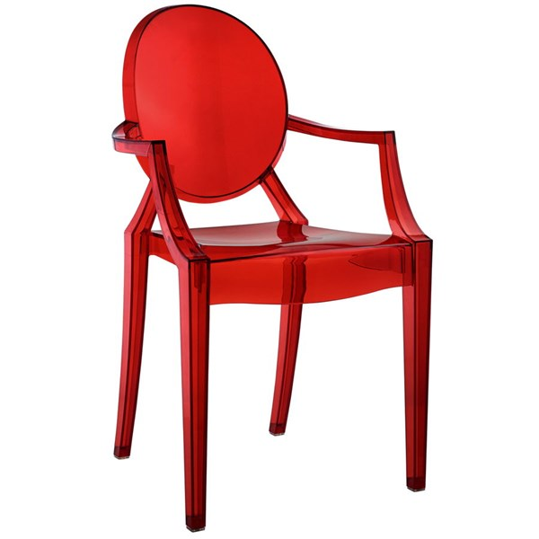 Casper Contemporary Red PC PVC Dining Armchair EEI-121-RED