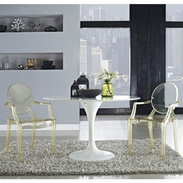 Casper & Lippa White Yellow Fiberglass Polycarbonate 3pc Dining Set EEI-120W-121Y