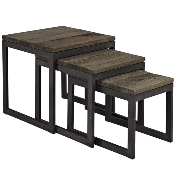 Covert Modern Brown Metal Wood Top Nesting Table EEI-1216-BRN