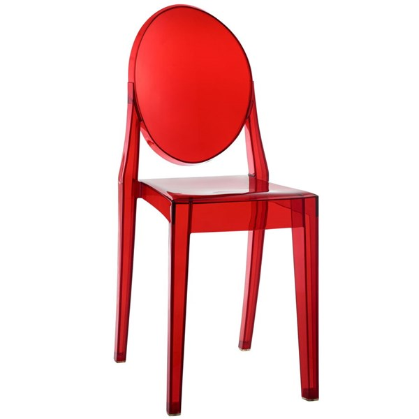 Casper Contemporary Red PC PVC Dining Side Chair EEI-122-RED