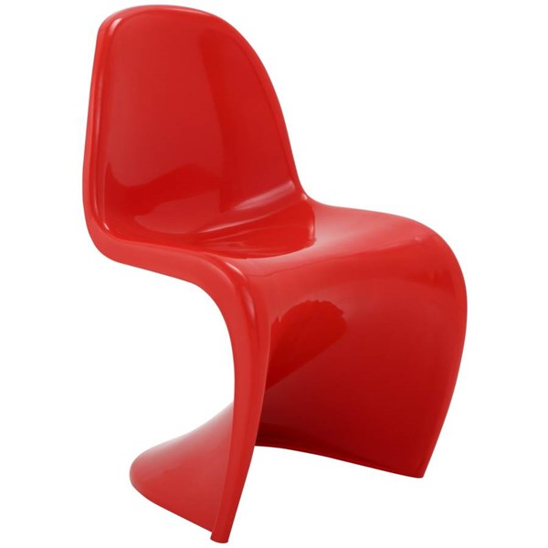 Slither Red ABS Plastic Armless Dinette Chair EEI-123-RED