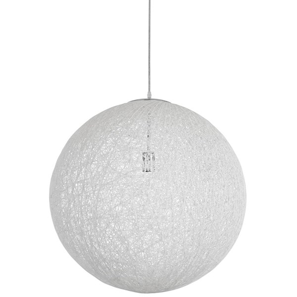 Spool Modern White Fabric 24 Inch Chandelier EEI-1233-WHI