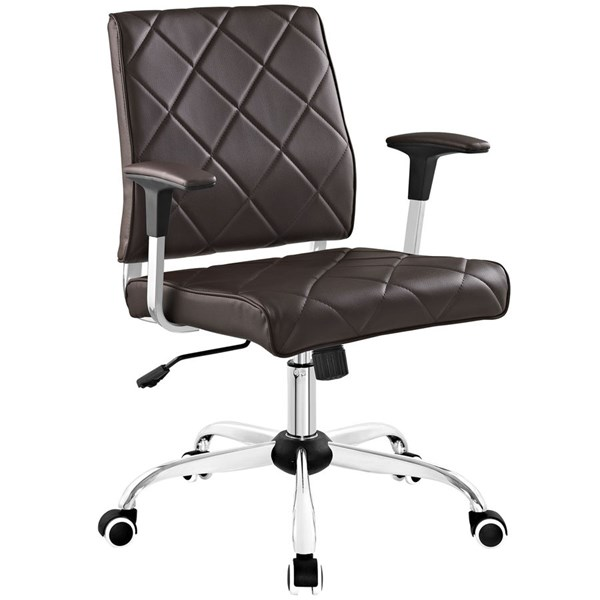 Lattice Elegant Brown Vinyl Metal Office Chair EEI-1247-BRN