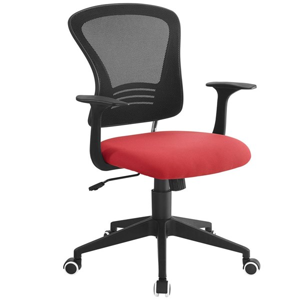 Poise Black Red Mesh PP Lumber Support Office Chair EEI-1248-RED