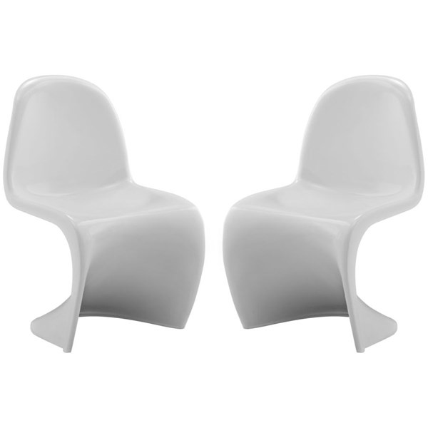 2 Slither White Plastic Solid Back Kids Chairs EEI-1252-WHI
